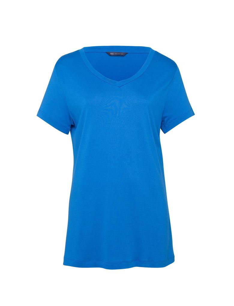 Mavi V Yaka Kısa Kollu  T-Shirt