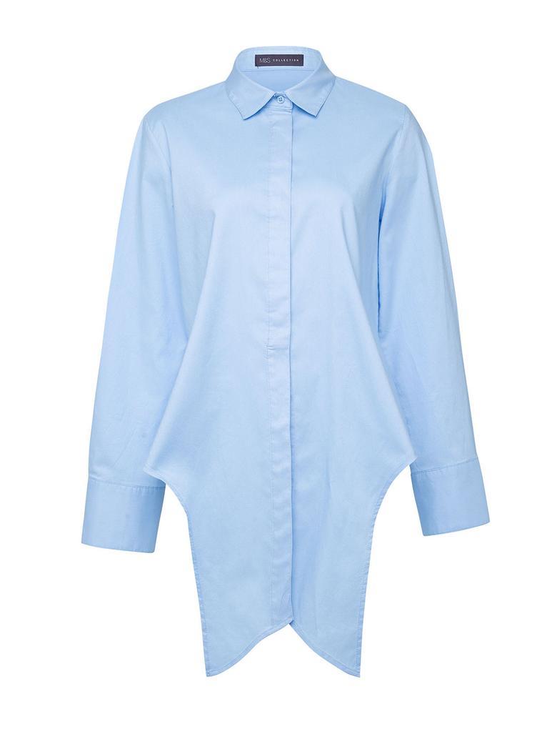 Kadın Mavi Önden Bağlamalı Poplin T-Shirt