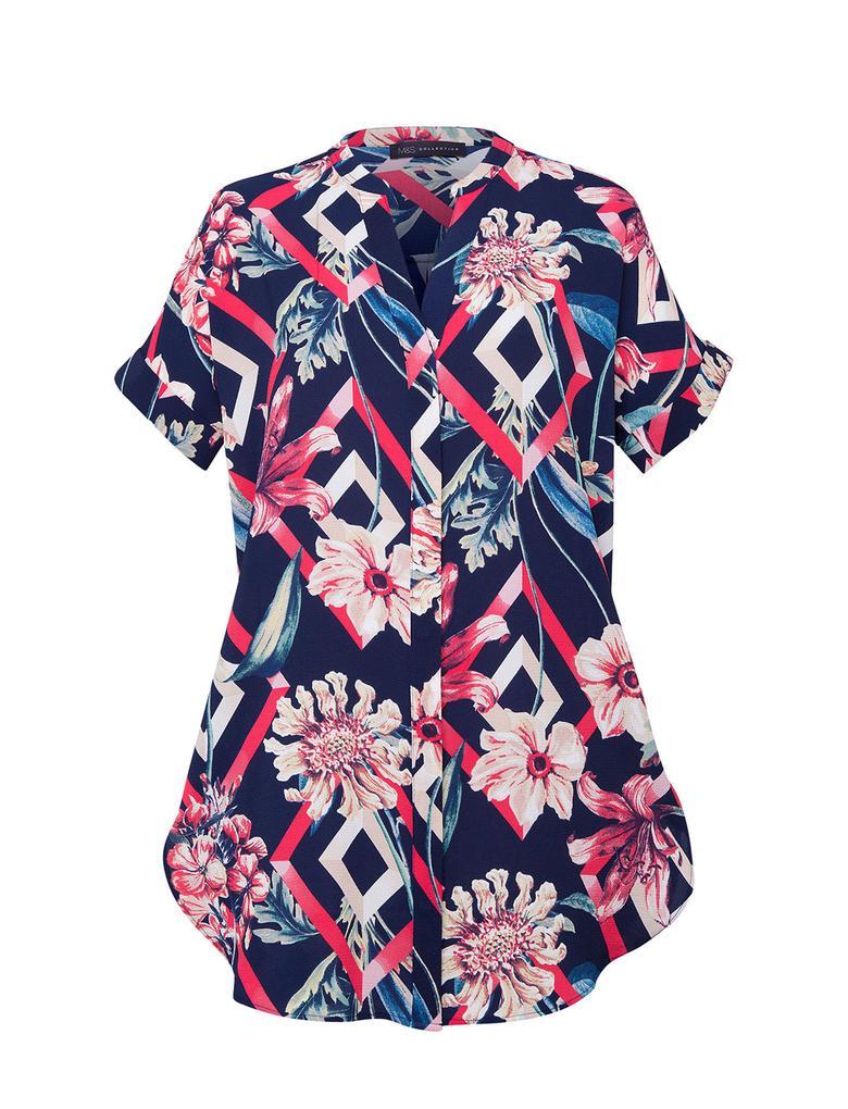 Kadın Multi Renk Kısa Kollu Desenli Bluz
