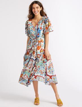 Yarım Kollu Çiçek Desenli Midi Elbise