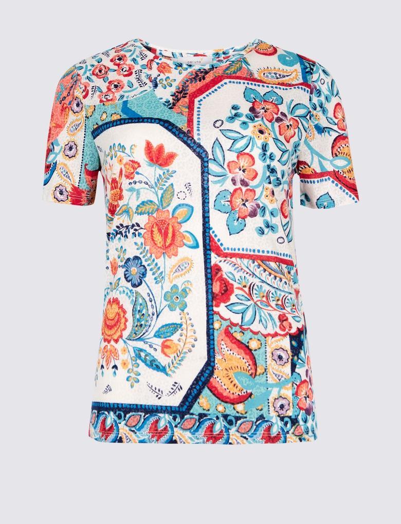 Mavi Kısa Kollu Yuvarlak Yaka T-Shirt