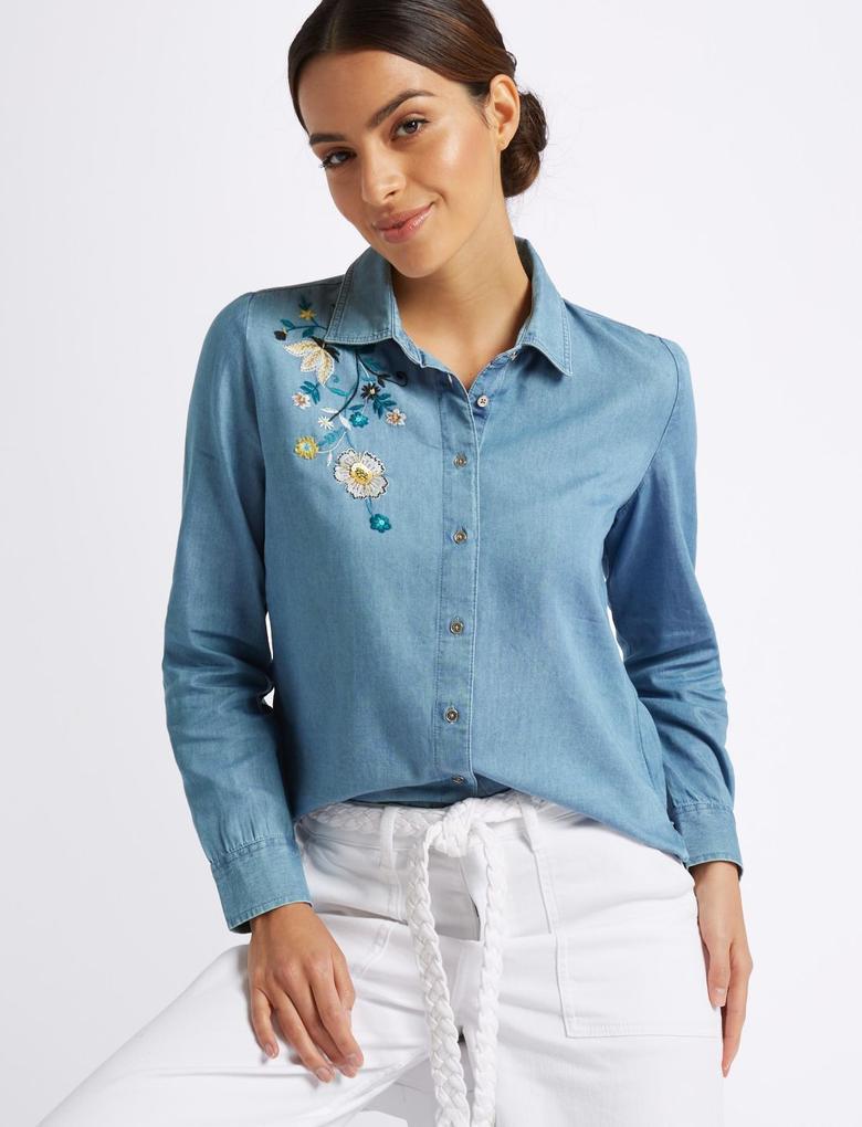 Mavi İşlemeli Uzun Kollu Gömlek