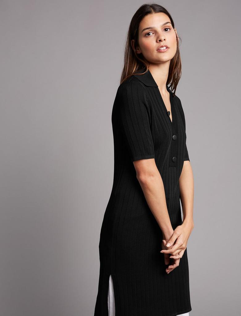 Düğme Detaylı Kısa Kollu Elbise