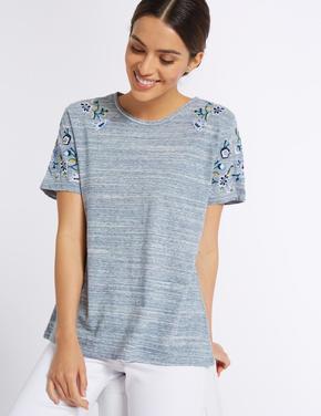 İşlemeli Pamuklu T-Shirt