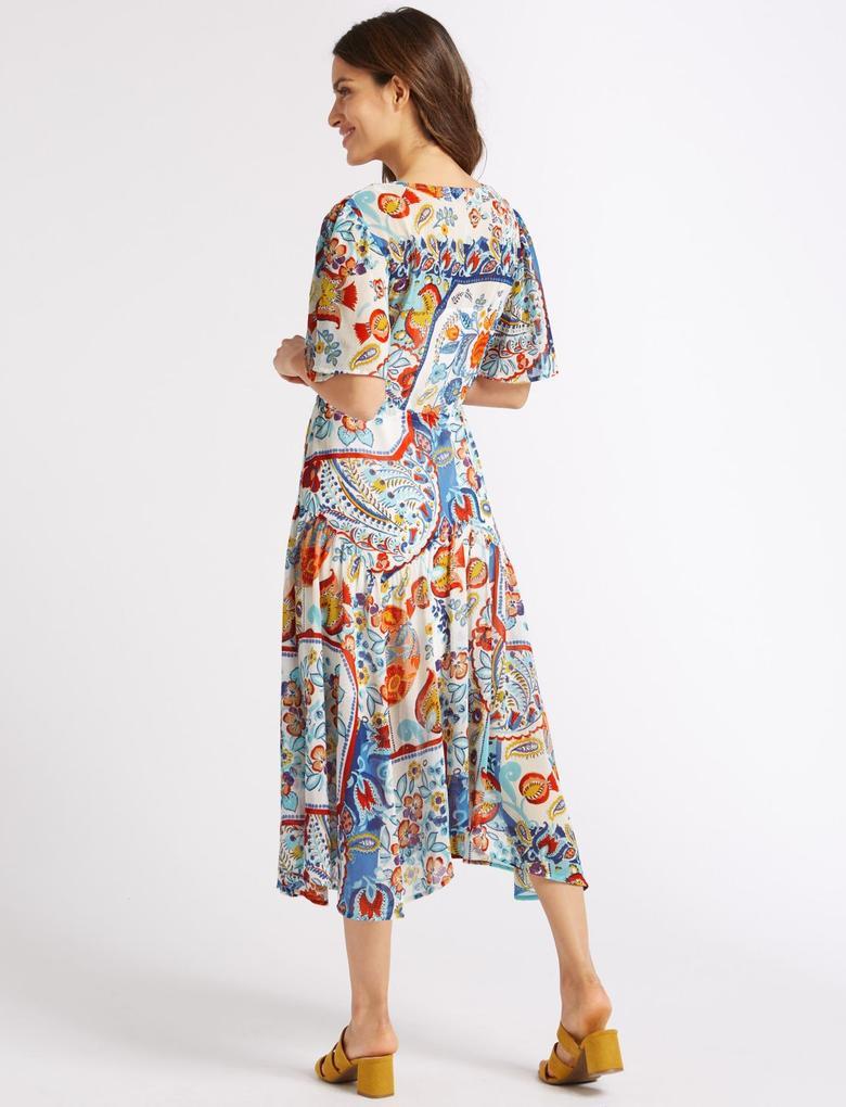 Multi Renk Yarım Kollu Çiçek Desenli Midi Elbise