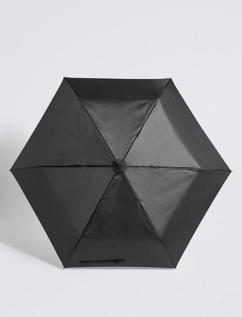 Kadın Siyah Parlak Kompakt Şemsiye