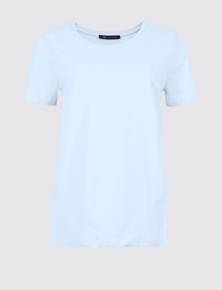 Mavi Saf Pamuklu Sıfır Yaka T-Shirt