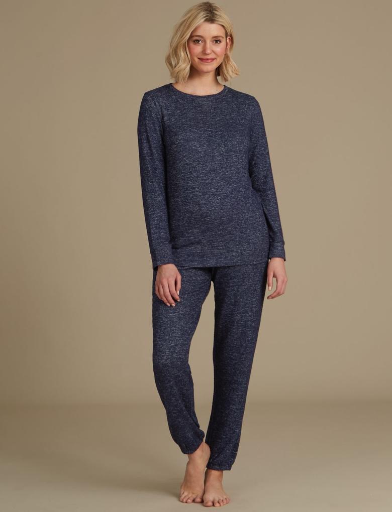 Kadın Lacivert Uzun Kollu Pijama Üstü