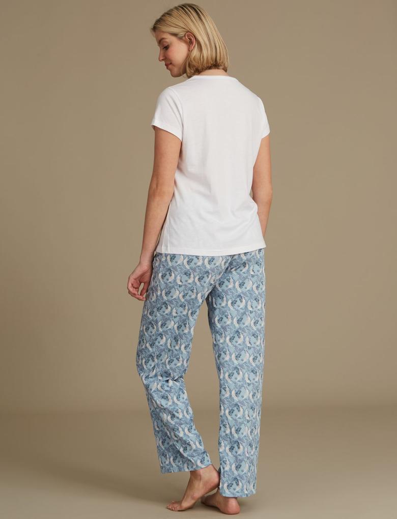 Saf Pamuklu Desenli Pijama Seti
