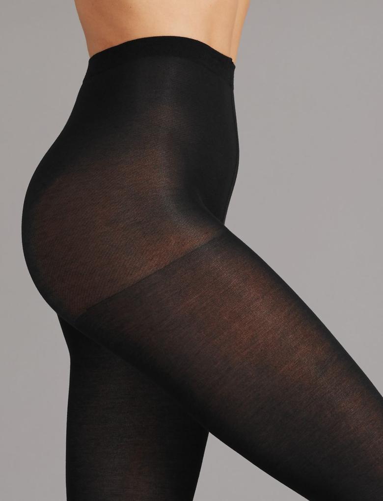 Kadın Siyah 40 Denye Pamuklu Külotlu Çorap