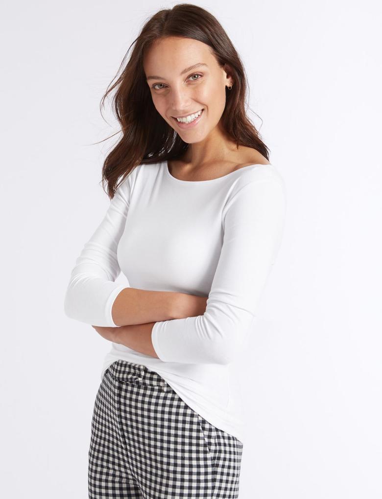 Beyaz Pamuklu Streç T-Shirt