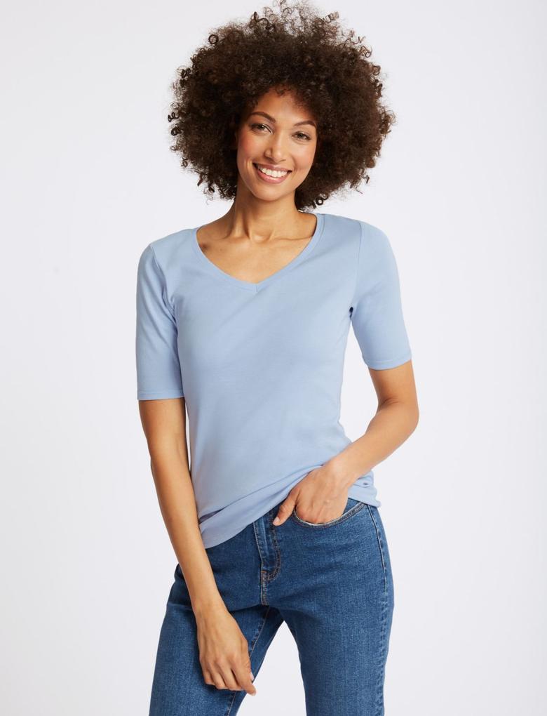 Mavi Saf Pamuklu V Yaka Yarım Kollu T-Shirt