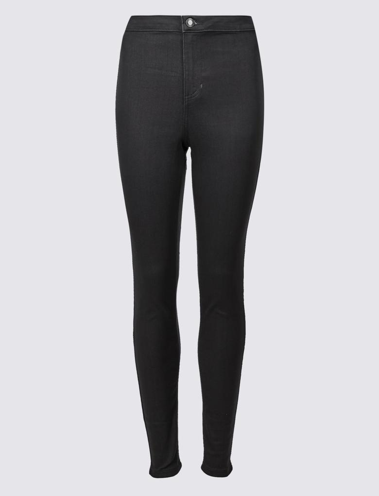 Gri Yüksek Belli Super Skinny Jean Pantolon