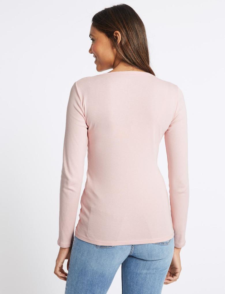 Pembe Saf Pamuklu Yuvarlak Yaka Uzun Kollu T-Shirt