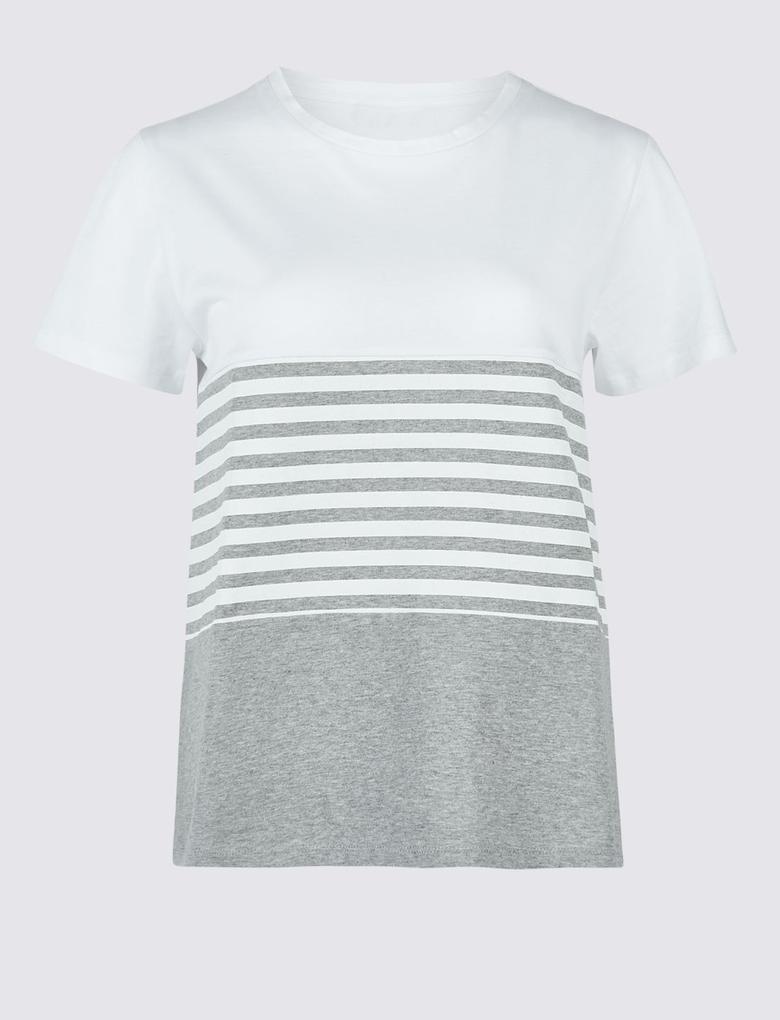 Gri Saf Pamuklu Çizgili Kısa Kollu T-Shirt