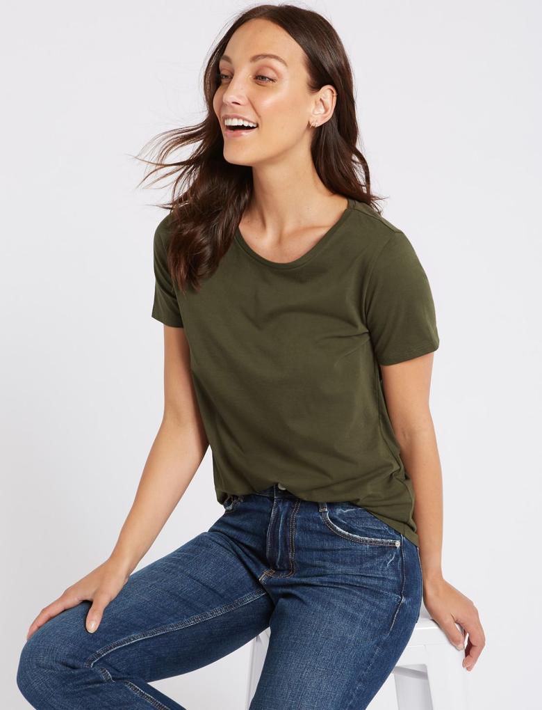 Yeşil Saf Pamuklu Sıfır Yaka T-Shirt
