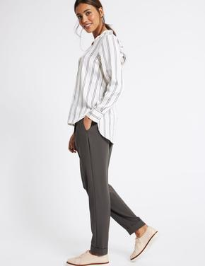 Kadın Gri Tapered Leg Pantolon