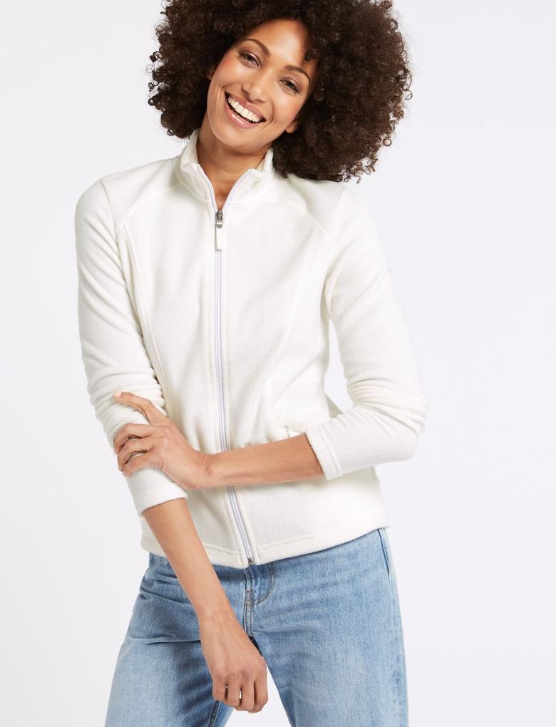 Kadın Beyaz Polar Sweatshirt