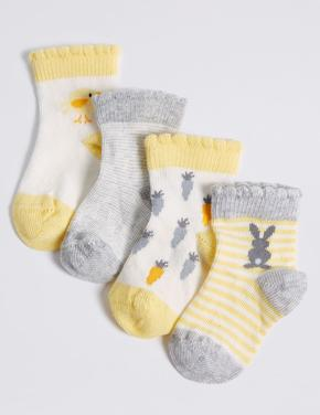 4 Çift Pamuklu Bebek Çorabı