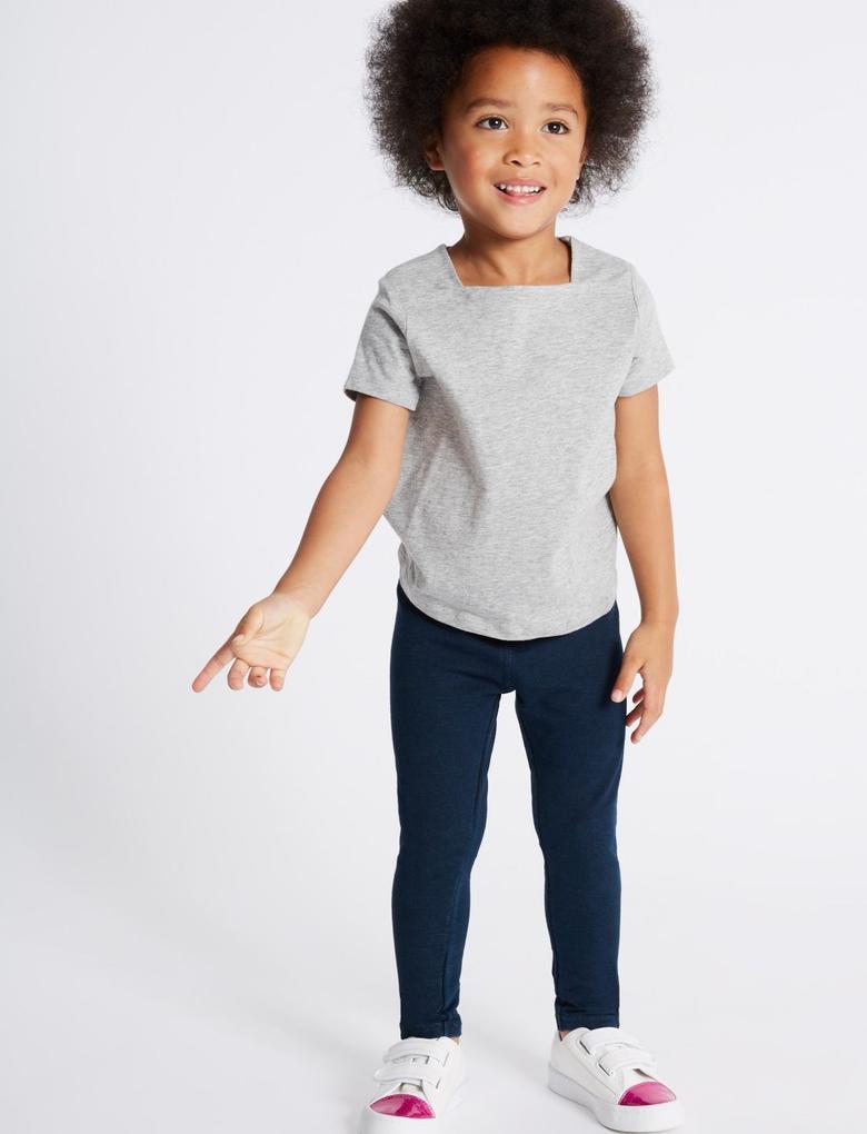 Kız Çocuk Mavi Pamuklu Streç Tayt