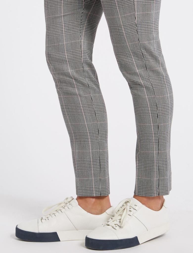 Kadın Pembe Slim Leg Ekose Pantolon