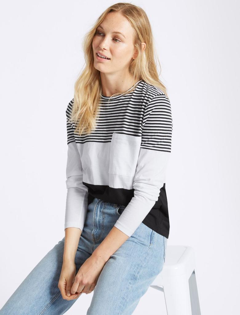 Siyah Saf Pamuklu Çizgili T-Shirt