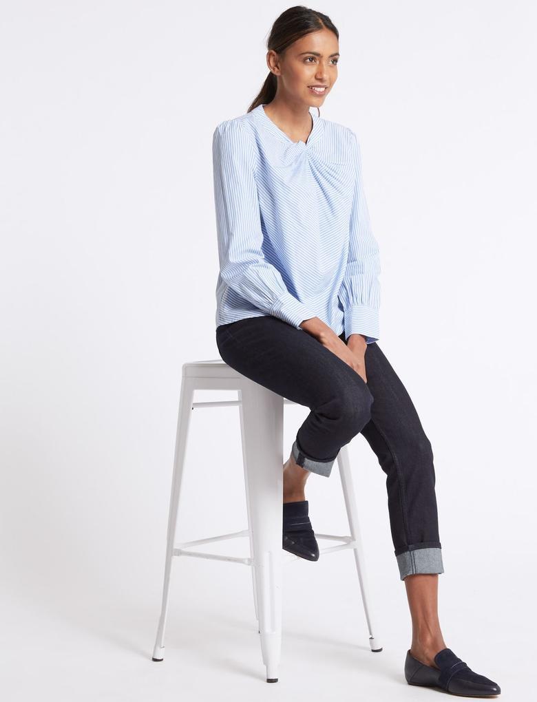 Lacivert Orta Belli Relaxed Slim Jean Pantolon