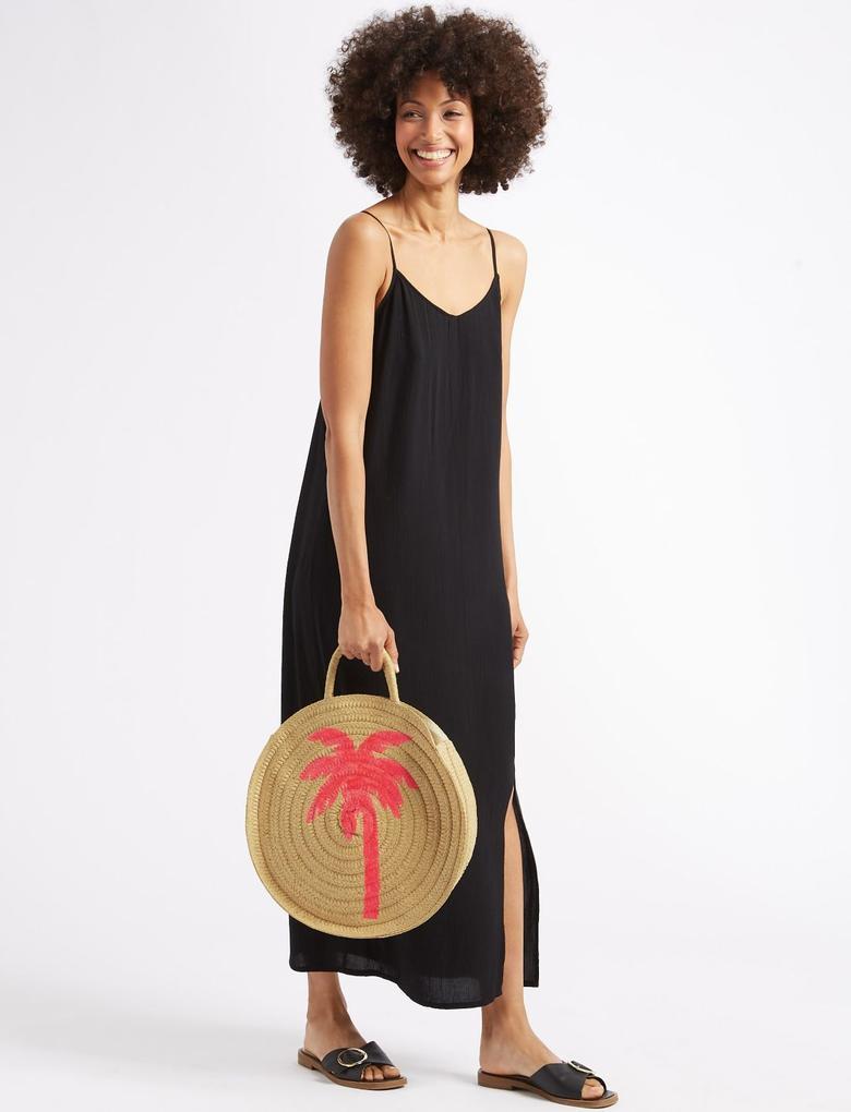 Palmiye Desenli Hasır Shopper Çanta