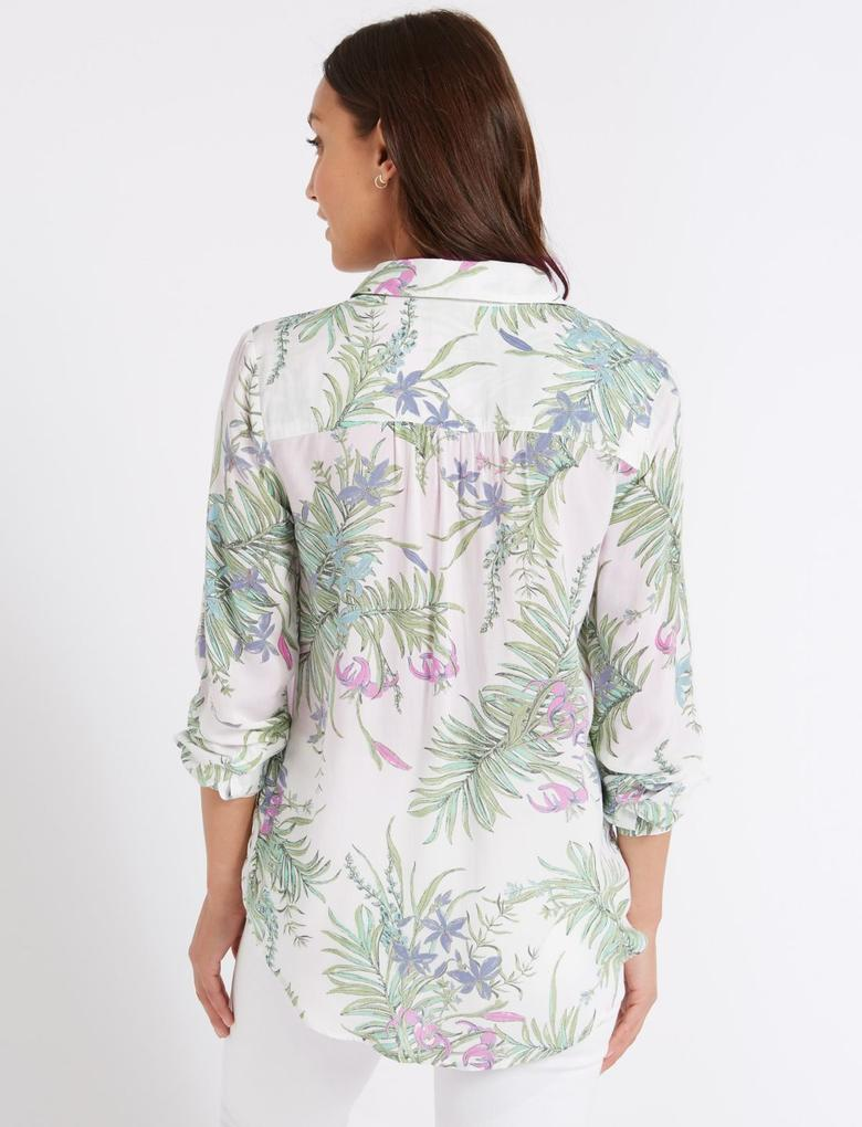 Saf Modal Çiçek Desenli Uzun Kollu Gömlek