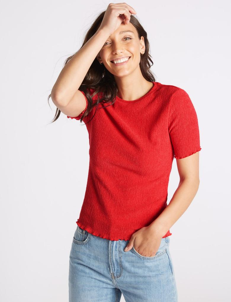Kadın Kırmızı Kısa Kollu Yuvarlak Yaka Bluz