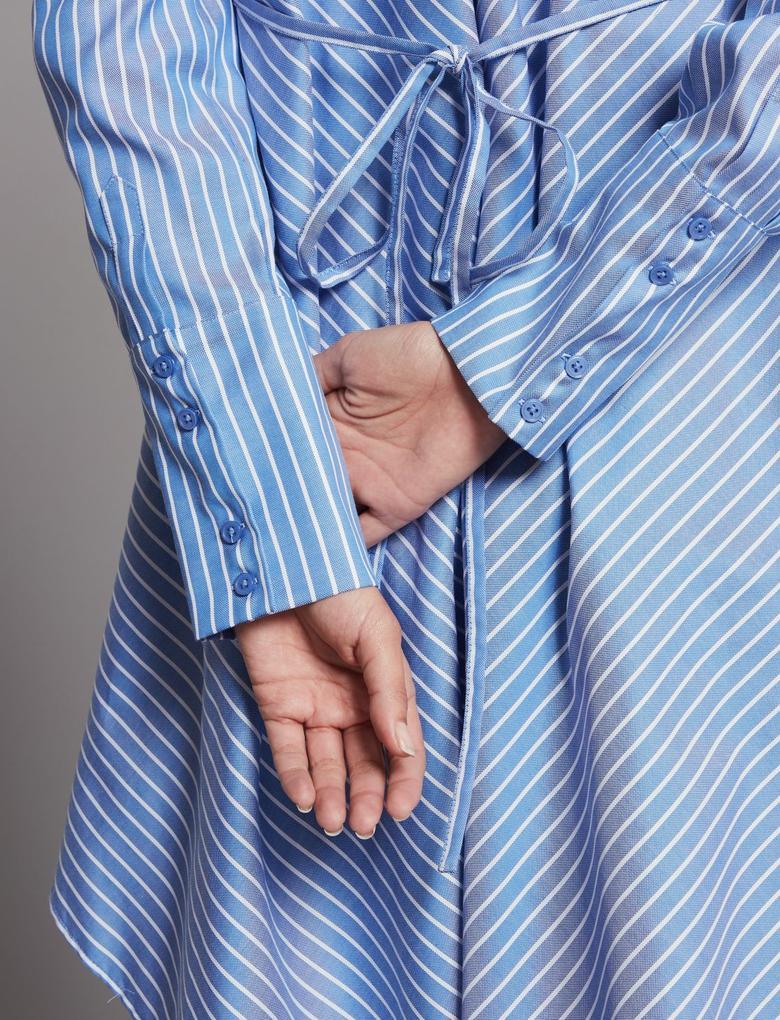Saf Pamuklu Çizgili Uzun Gömlek