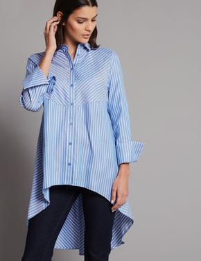 Mavi Saf Pamuklu Çizgili Uzun Gömlek