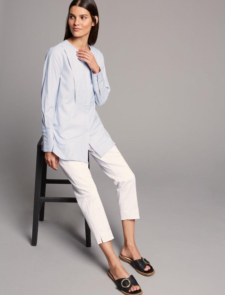 Kadın Mavi Saf Pamuklu Uzun Kollu Yuvarlak Yaka Gömlek