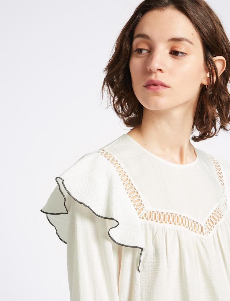 Beyaz Dantel Detaylı Uzun Kollu Yuvarlak Yaka Bluz