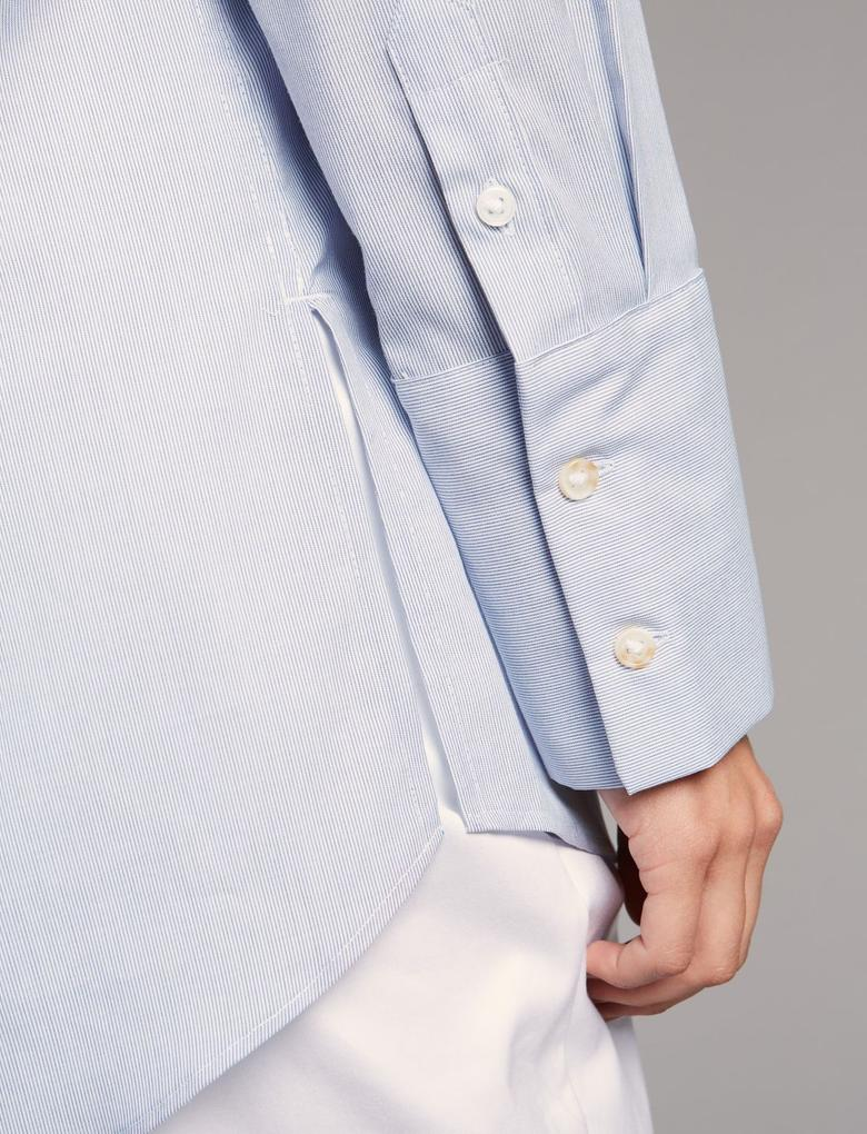 Saf Pamuklu Uzun Kollu Yuvarlak Yaka Gömlek
