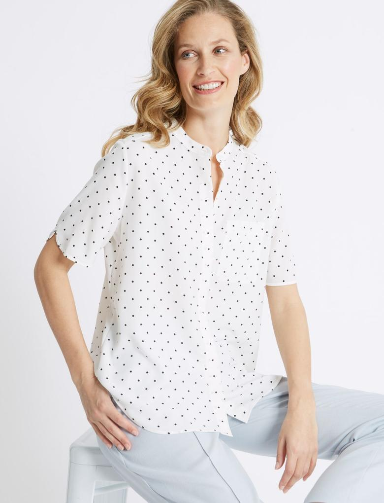 Bej Yarım Kollu Gömlek