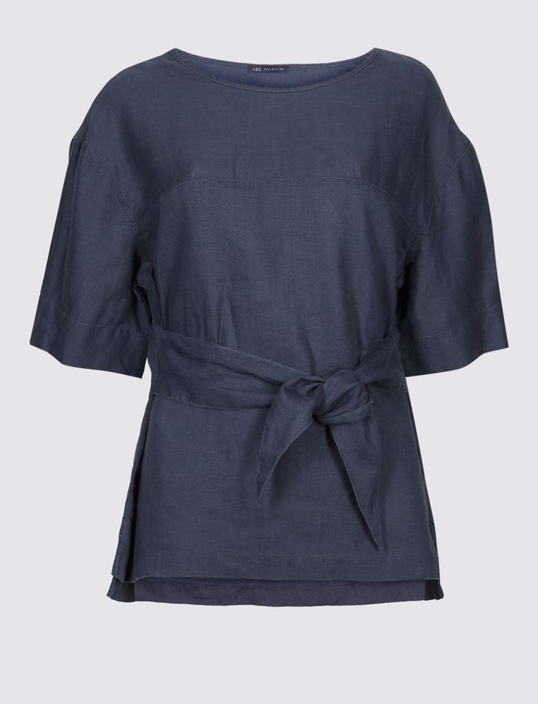 Lacivert Saf Keten Yuvarlak Yaka Yarım Kollu Bluz