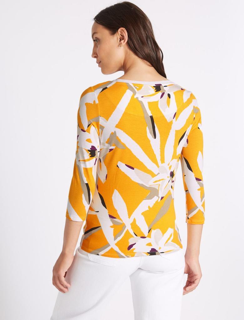 Sarı Çiçek Desenli Uzun Kollu Bluz