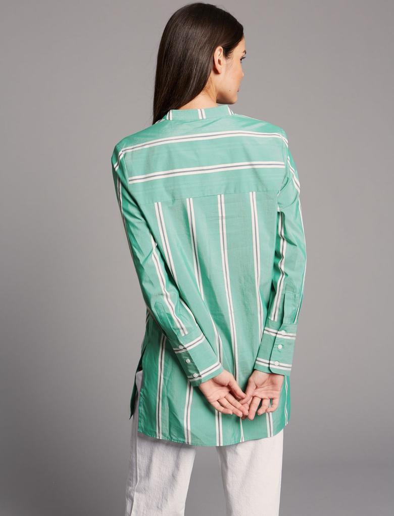 Yeşil Pamuklu Çizgili Gömlek