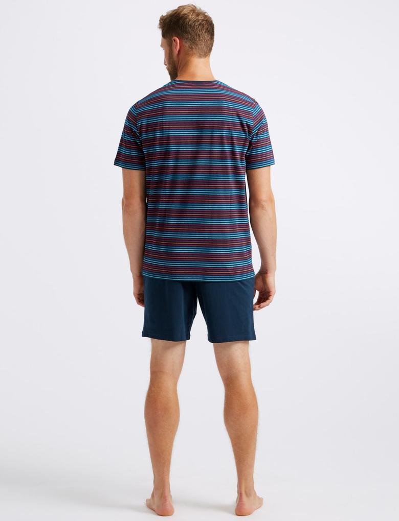 Multi Renk Saf Pamuklu Çizgili Pijama Takımı