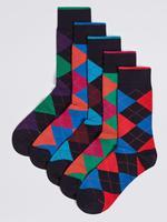 5'li Cool & Freshfeet™ Ekose Çorap