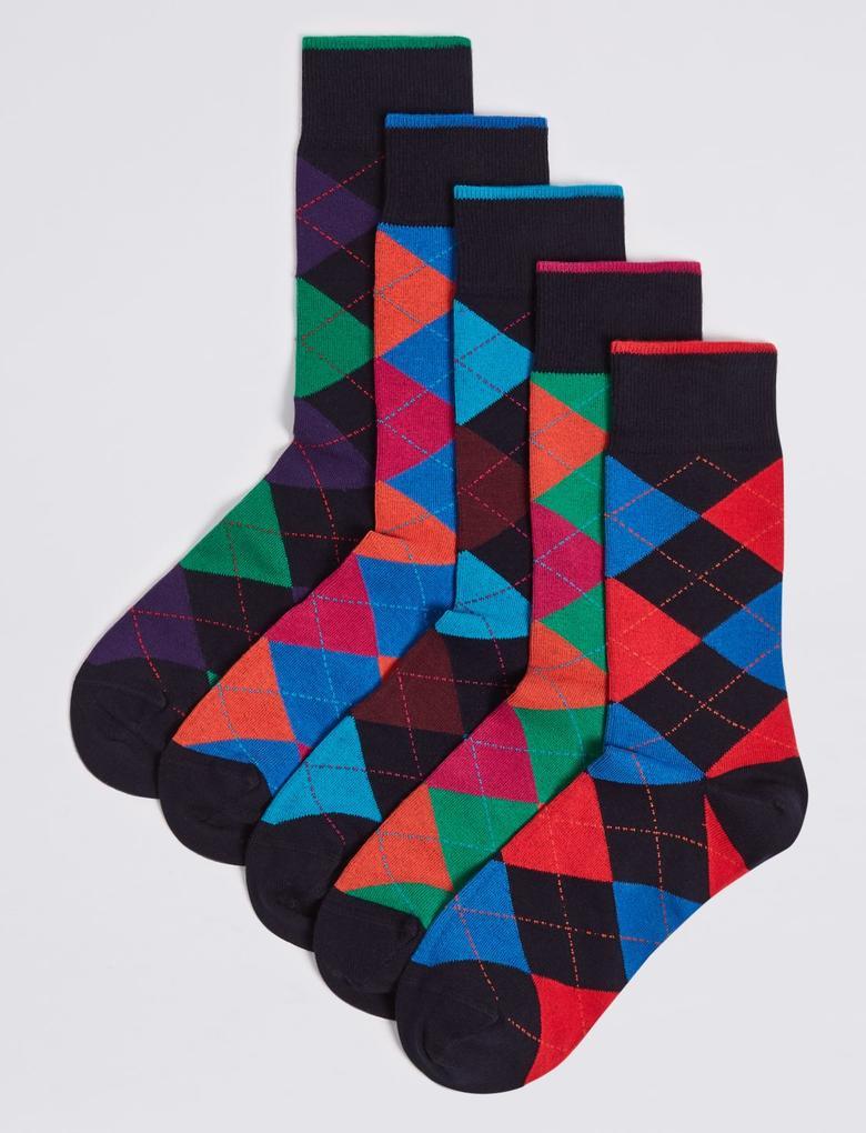Multi Renk 5'li Cool & Freshfeet™ Ekose Çorap