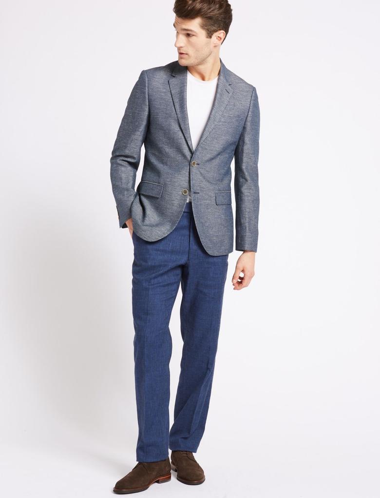 Lacivert Pamuklu Tailored Fit Ceket
