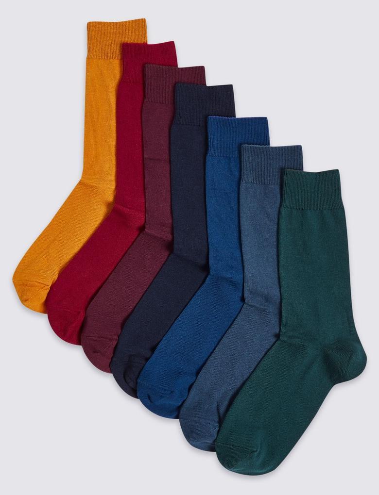 Multi Renk 7 Çift Cool & Freshfeet™ Pamuklu Çorap