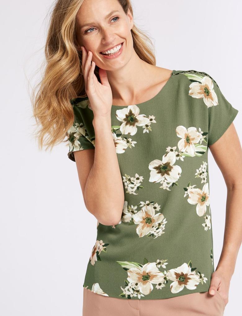 Krem Modal Karışımlı Çiçek Desenli Kısa Kollu Bluz