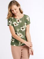 Modal Karışımlı Çiçek Desenli Kısa Kollu Bluz