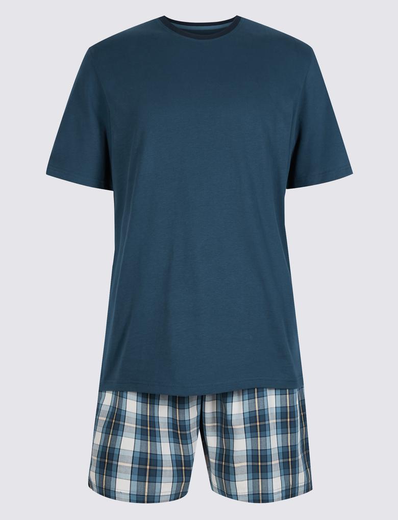 Mavi Saf Pamuklu Ekose Pijama Takımı