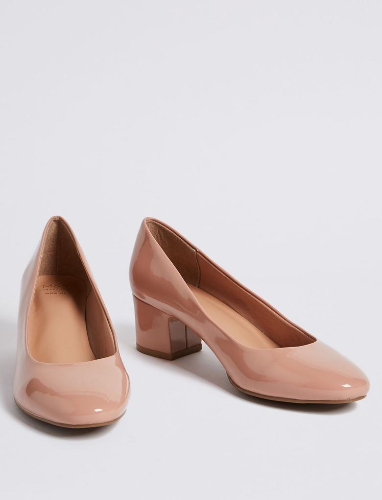 Kadın Bej Geniş Kalıplı Kalın Topuklu Ayakkabı