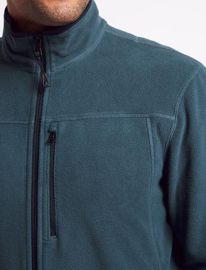 Mavi Fermuarlı Polar Sweatshirt