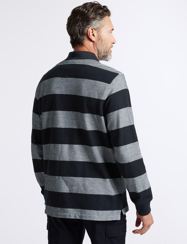 Erkek Lacivert Saf Pamuklu Çizgili Polo Yaka T-Shirt